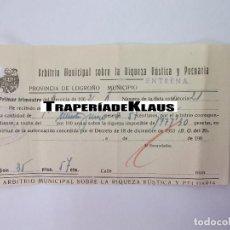 Facturas antiguas: RECIBO ARBITRIO MUNICIPAL SOBRE LA RIQUEZA RUSTICA Y PECUARIA. ENTRENA LA RIOJA 1962. TDKP12. Lote 98673339