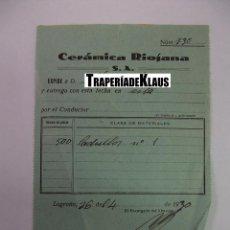 Facturas antiguas: FACTURA ALBARAN FABRICA CERAMICA RIOJANA S.A. LOGROÑO. 1930. TDKP12 . Lote 98673839