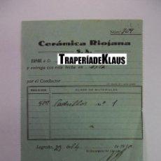 Facturas antiguas: FACTURA ALBARAN FABRICA CERAMICA RIOJANA S.A. LOGROÑO. 1930. TDKP12 . Lote 98673903