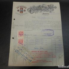 Facturas antiguas: FACTURA DE ALCOY ALICANTE DE ACEITUNAS RELLENAS EL SERPIS DE CANDIDO MIRO 1945. Lote 99169731