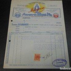 Fatture antiche: FACTURA DE ALBAIDA VALENCIA LAMPARILLAS DE CERA DE MONZO PLA A ALICANTE 1943. Lote 99172743