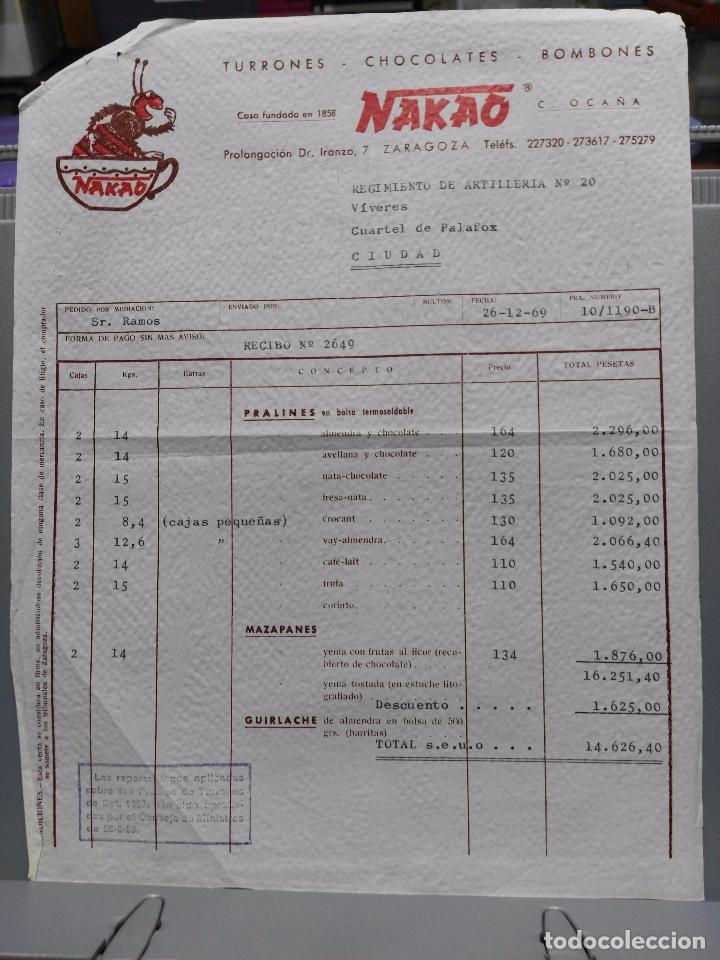 NAKAO. TURRONES. CHOCOLATES. BOMBONES FCTA DEL 26-12-1962 (Coleccionismo - Documentos - Facturas Antiguas)