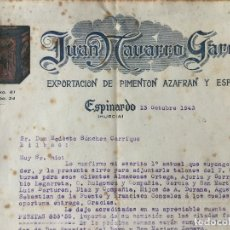 Facturas antiguas: FACTURA JUAN NAVARRO GARCIA EXPORTACION DE PIMENTON 1943 MURCIA. Lote 99278375