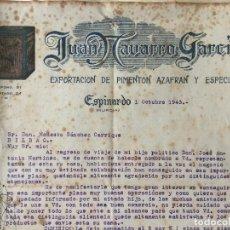 Facturas antiguas: FACTURA JUAN NAVARRO GARCIA EXPORTACION DE PIMENTON 1943 MURCIA. Lote 99278499