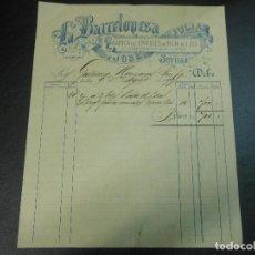 Facturas antiguas: FACTURA DE SEVILLA LA BARCELONESA FABRICA DE ENVASES HOJA DE LATA Y CONSERVAS DE JULIA JOSE 1897. Lote 99518243