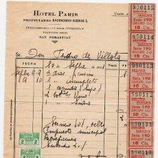 Facturas antiguas: FACTURA PAGADA HOTEL PARIS - SAN SEBASTIAN VIÑETAS SUBSIDIO AL COMBATIENTE. Lote 99647967