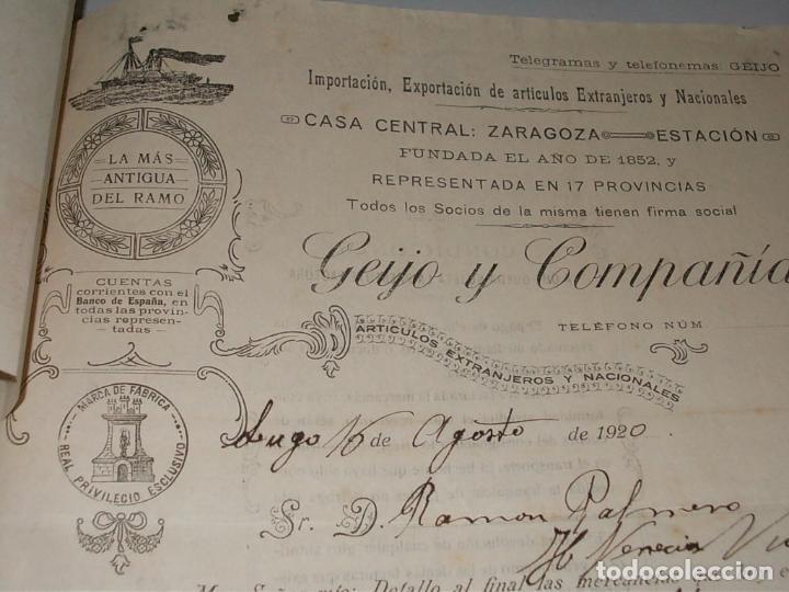 GEIJO Y COMPAÑÍA ARTÍCULOS EXTRANJEROS Y NACIONALES, FACTURA Y PAGARÉ AÑO 1.920 (Coleccionismo - Documentos - Facturas Antiguas)