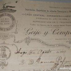 Factures anciennes: GEIJO Y COMPAÑÍA ARTÍCULOS EXTRANJEROS Y NACIONALES, FACTURA Y PAGARÉ AÑO 1.920. Lote 99759335