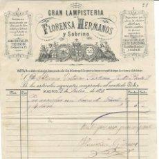 Facturas antiguas: MADRID 1889 FACTURA DE GRAN LAMPISTERÍA FLORENSA HERMANOS. Lote 100065955