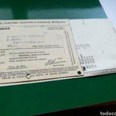 Facturas antiguas: FACTURA DE LLAMADAS DE LA COMPAÑÍA TELEFÓNICA NACIONAL DE ESPAÑA. JUMILLA MURCIA 1937. Lote 100241966