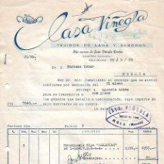 Facturas antiguas: FACTURA. CASA VIÑEGLA. TEJIDOS DE LANA Y ALGODÓN. MURCIA. ESPAÑA 1959. Lote 101519503