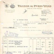Facturas antiguas: FACTURA. TEJIDOS DE PUNTO VIVES. JOSÉ Mª VIVES PELFORT. MURCIA. ESPAÑA 1959. Lote 101521171