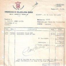 Facturas antiguas: FACTURA. FRANCISCO VILAPLANA MIRO. FÁBRICA DE TEJIDOS. ALCOY. ESPAÑA 1959. Lote 101525291