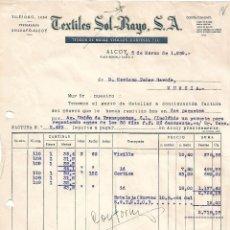 Facturas antiguas: FACTURA. TEXTILES SOL-RAYO. TEJIDOS DE MALLA. ALCOY. ESPAÑA 1959. Lote 101534935