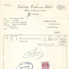 Facturas antiguas: FACTURA. VALENTÍN TABERNER VILARÓ. FÁBRICA DE TEJIDOS DE PUNTO. MATARÓ. ESPAÑA 1959. Lote 101594187