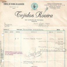 Facturas antiguas: FACTURA. TEJIDOS ROVIRA. FÁBRICA DE TEJIDOS DE ALGODÓN. BARCELONA. ESPAÑA 1959. Lote 101601771