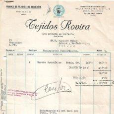Facturas antiguas: FACTURA. TEJIDOS ROVIRA. FÁBRICA DE TEJIDOS DE ALGODÓN. BARCELONA. ESPAÑA 1959. Lote 101601975