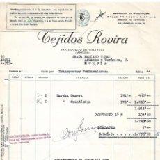 Facturas antiguas: FACTURA. TEJIDOS ROVIRA. FÁBRICA DE TEJIDOS DE ALGODÓN. BARCELONA. ESPAÑA 1959. Lote 101602115