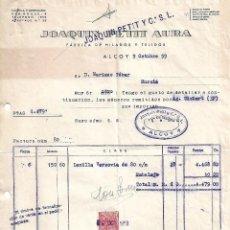 Facturas antiguas: FACTURA. JOAQUIN PETIT Y Cª., S.L. FÁBRICA DE HILADOS Y TEJIDOS. ALCOY. ESPAÑA 1959. Lote 101619851