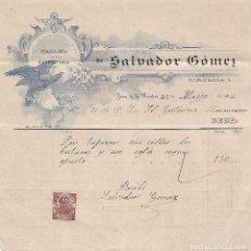 Facturas antiguas: FACTURA. SALVADOR GÓMEZ. TALLER DE CARPINTERÍA. JEREZ DE LA FRONTERA. ESPAÑA 1912. Lote 101681327