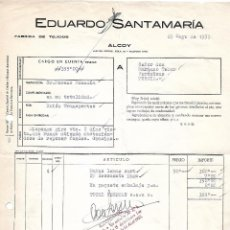 Facturas antiguas: FACTURA. EDUARDO SANTAMARÍA. FÁBRICA DE TEJIDOS. ALCOY. ESPAÑA 1959. Lote 101691747