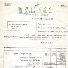 Faturas antigas: FACTURA. M. RICHART, S.R.C. FÁBRICA DE TEJIDOS. ALCOY. ESPAÑA. 1959. Lote 101695467