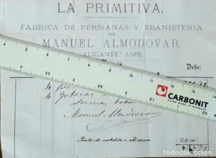 ASPE LA PRIMITIVA FABRICA DE PERSIANAS Y EBANISTERIA 1879 ALICANTE (Coleccionismo - Documentos - Facturas Antiguas)