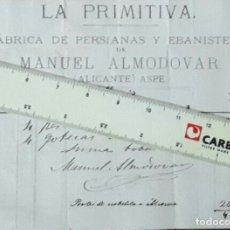 Facturas antiguas: ASPE LA PRIMITIVA FABRICA DE PERSIANAS Y EBANISTERIA 1879 ALICANTE . Lote 101713347