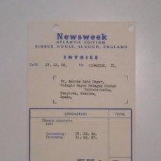 Facturas antiguas: FACTURA RECIBO NEWSWEEK. ATLANTIC EDITION. KINBEX HOUSE SLOUGH ENGLAND. PAMPLONA. TDKP2. Lote 101930283