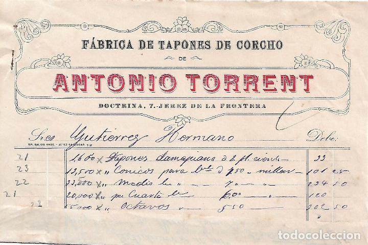 FACTURA. ANTONIO TORRENT. FÁBRICA DE TAPONES DE CORCHO. JEREZ. ESPAÑA 1917 (Coleccionismo - Documentos - Facturas Antiguas)