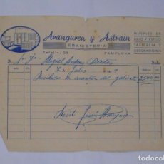 Facturas antiguas: ANTIGUA FACTURA RECIBO ARANGUREN Y ASTRAIN EBANISTERIA. PAMPLONA. 7 DE JULIO AÑO 1959. TDKP2. Lote 101987967