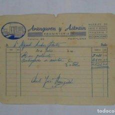 Facturas antiguas: ANTIGUA FACTURA RECIBO ARANGUREN Y ASTRAIN EBANISTERIA. PAMPLONA. AÑOS 50. TDKP2. Lote 101988011