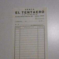 Facturas antiguas: FACTURA RECIBO DE LA VENTA EL TENTAERO. CARMONA. SEVILLA. AÑOS 80. TDKP2. Lote 101993119