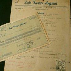 Facturas antiguas: FACTURA Y RECIBI DE LUIS FUSTER ARGEMI (AÑO 1961) FRIO INDUSTRIAL SABADELL BARCELONA - INSTALACION. Lote 102651319