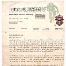 Facturas antiguas: FACTURA CARTA COMERCIAL FABRICA DE ARMAS Y BICICLETAS (BH) BEISTEGUI HERMANOS. EIBAR GUIPUZCOA 1940. Lote 102791119