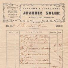 Facturas antiguas: ANTIGUO RECIBO. HERRERÍA Y CERRAJERÍA JOAQUÍN SOLER, ALBALATE DEL ARZOBISPO, TERUEL. AÑOS 20-30. Lote 103510007