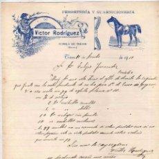 Facturas antiguas: FERRETERÍA Y GUARNICIÓN. VICTOR RODRÍGUEZ. PUEBLA DE TRIVES ORENSE. 1919. FIRMA PROPIETARIO.. Lote 104027963