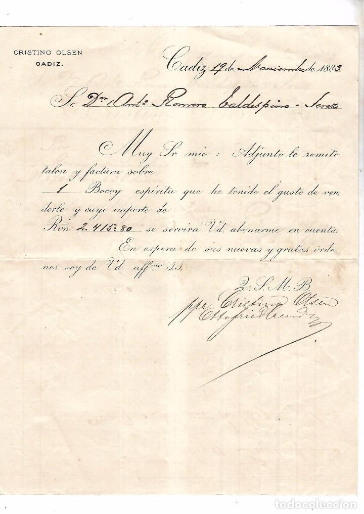 CADIZ. CRISTINO OLSEN. 1883. FACTURA DE VINO (Coleccionismo - Documentos - Facturas Antiguas)