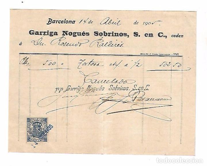 FACTURA. GARRIGA NOGUES SOBRINOS. BARCELONA 1905 (Coleccionismo - Documentos - Facturas Antiguas)