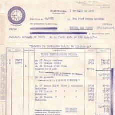 Facturas antiguas: FACTURA. TEXTIL MARTI LLOPART Y TRENCHS, S.A. BARCELONA. ESPAÑA 1945. Lote 104395287
