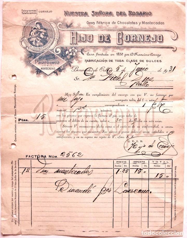 FACTURA CHOCOLATES. HIJO DE CORNEJO. NUESTRA SEÑORA DEL ROSARIO. BENAVIDES DE ORBIGO LEON AÑO 1931 (Coleccionismo - Documentos - Facturas Antiguas)