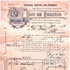 Facturas antiguas: FACTURA CHOCOLATES. HIJO DE CORNEJO. NUESTRA SEÑORA DEL ROSARIO. BENAVIDES DE ORBIGO LEON AÑO 1931. Lote 104893955