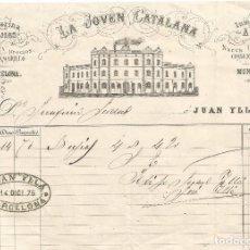 Facturas antiguas: FACTURA DE 1876 LA JOVEN CATALANA FABRICA ESTEARINA BUJIAS JABON AMARILLO CONSEJO DE CIENTO BARCELON. Lote 105013383