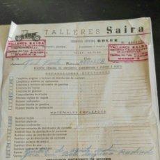 Facturas antiguas: ANTIGUA FACTURA TALLERES SAIRA. Lote 105068006