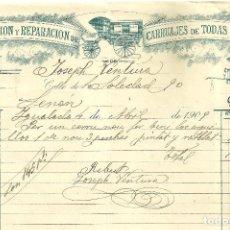 Facturas antiguas: C1.- IGUALADA -CONSTRUCCION Y REPARACION DE CARRUAJES DE TODAS CLASES-FACTURA ABRIL 1909. Lote 105645911