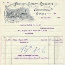 Facturas antiguas: PRECIOSA FACTURA FÁBRICA HILATURAS, FILATURE DE SCHAPPE CORDONNET, CAMENZIND & Cº, GERSAU SUIZA 1926. Lote 105646823