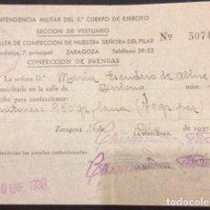 Facturas antiguas: RECIBO INTENDENCIA MILITAR DEL 5º CUERPO DE EJERCICIO VESTUARIO ZARAGOZA 1937 ESCUDERO DE ALLUE. Lote 105881011
