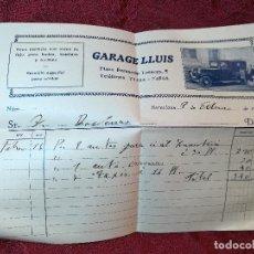 Facturas antiguas: FACTURA SERVICIO ALQUILER VEHICULOS COCHES --GARAJE LLUIS--BARCELONA---AÑO 1935. Lote 106081991