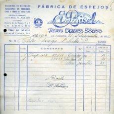 Facturas antiguas: 1952. FACTURA DE FÁBRICA DE ESPEJOS EL BISEL, DE LA CORUÑA, GALICIA. Lote 107283279