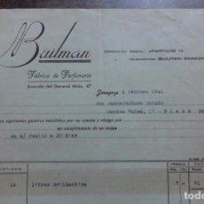 Facturas antiguas: ANTIGUA FACTURA. BUILMAN FABRICA DE PERFUMERIA. ZARAGOZA. 1941. Lote 107602395